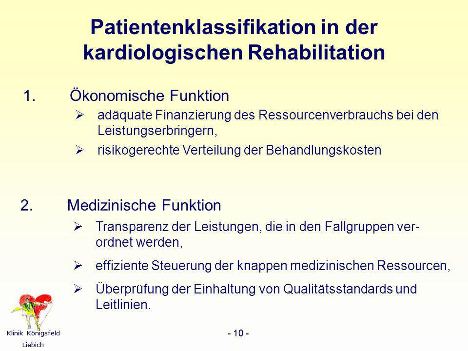 Patientenklassifikation in der kardiologischen Rehabilitation