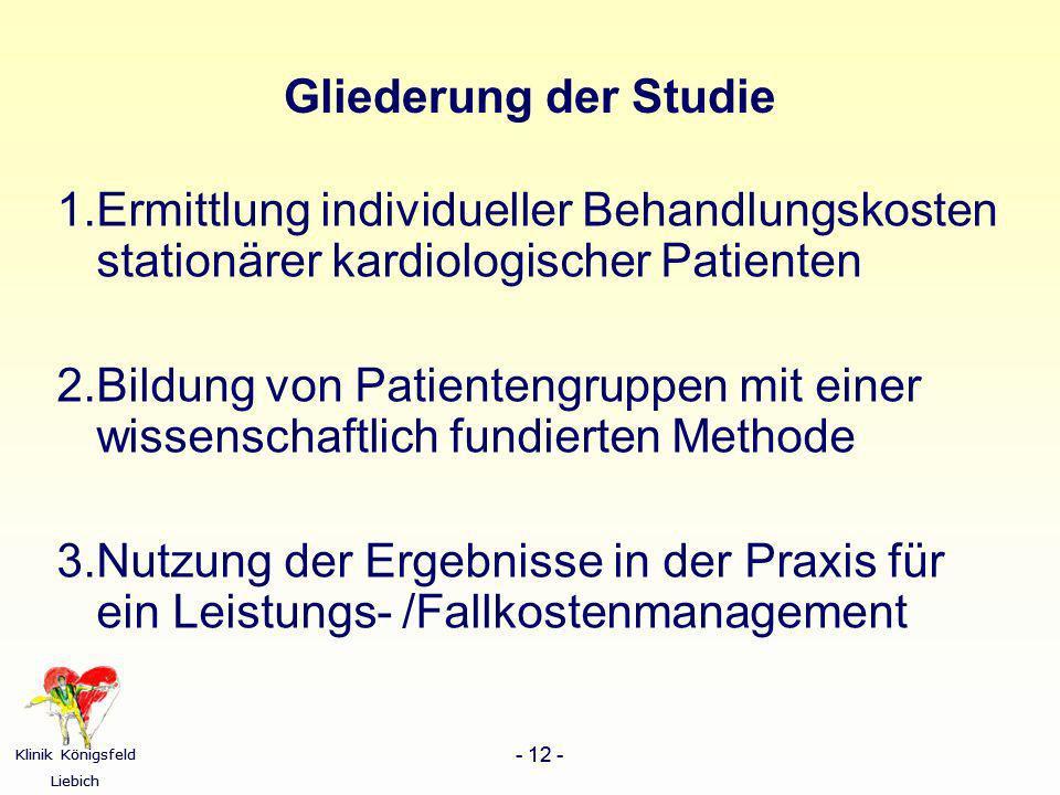 Gliederung der Studie 1.Ermittlung individueller Behandlungskosten stationärer kardiologischer Patienten.