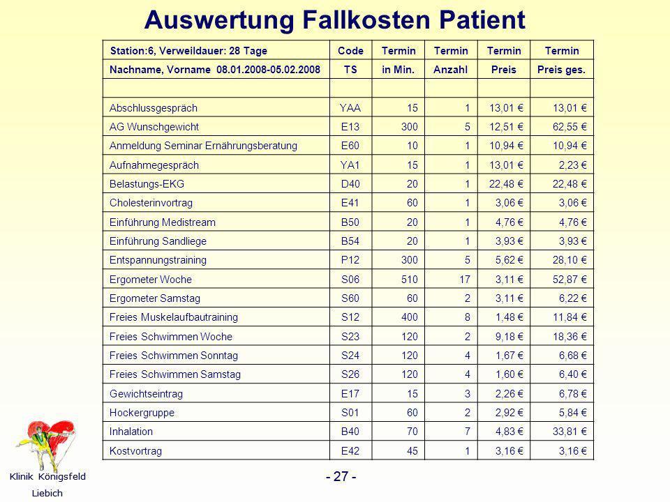 Auswertung Fallkosten Patient