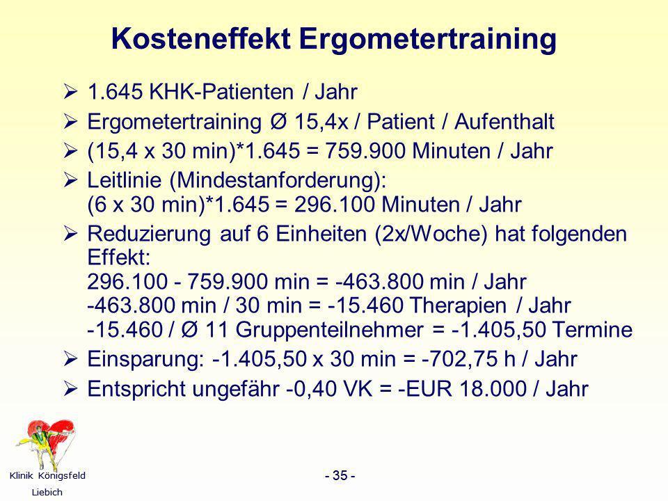 Kosteneffekt Ergometertraining