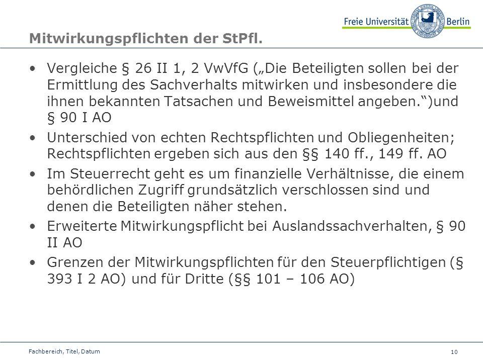 Mitwirkungspflichten der StPfl.