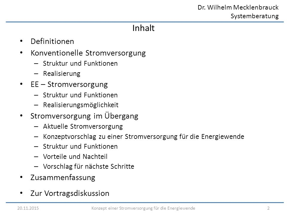 Dr. Wilhelm Mecklenbrauck Systemberatung