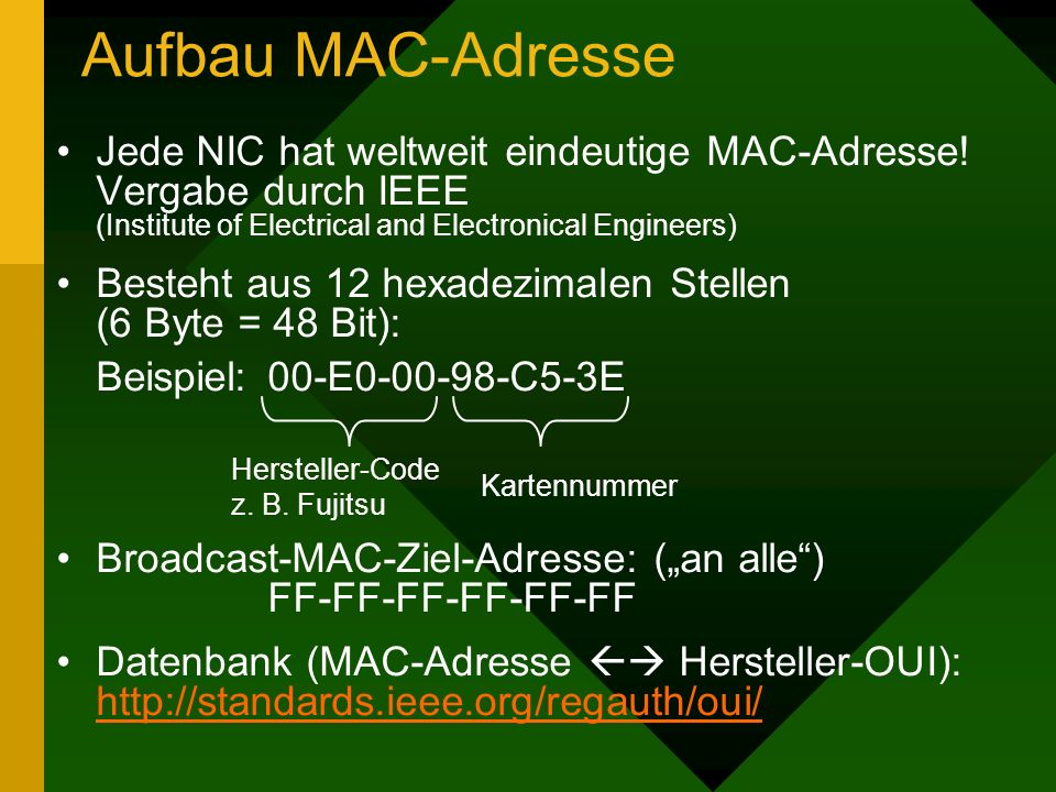 Aufbau MAC-Adresse Jede NIC hat weltweit eindeutige MAC-Adresse! Vergabe durch IEEE (Institute of Electrical and Electronical Engineers)