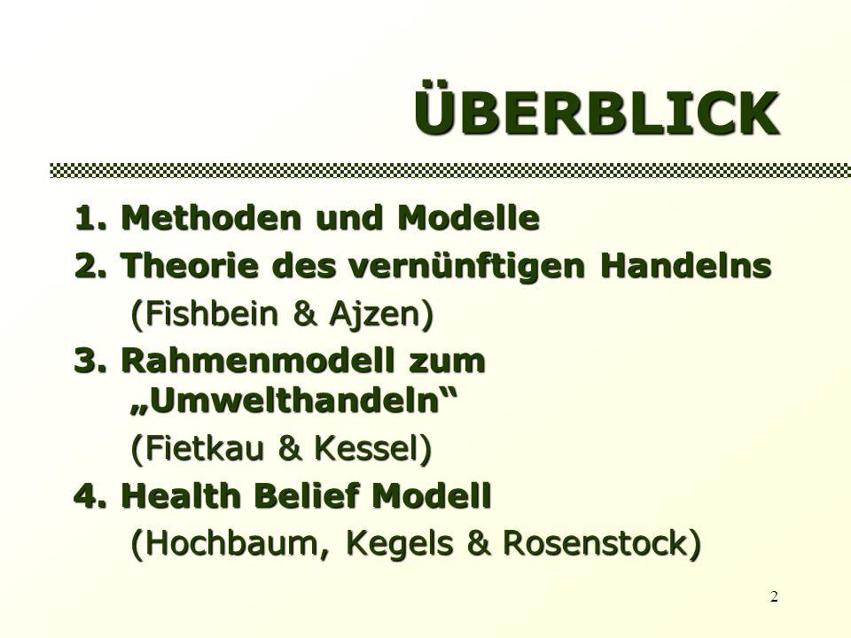 ÜBERBLICK 1. Methoden und Modelle 2. Theorie des vernünftigen Handelns