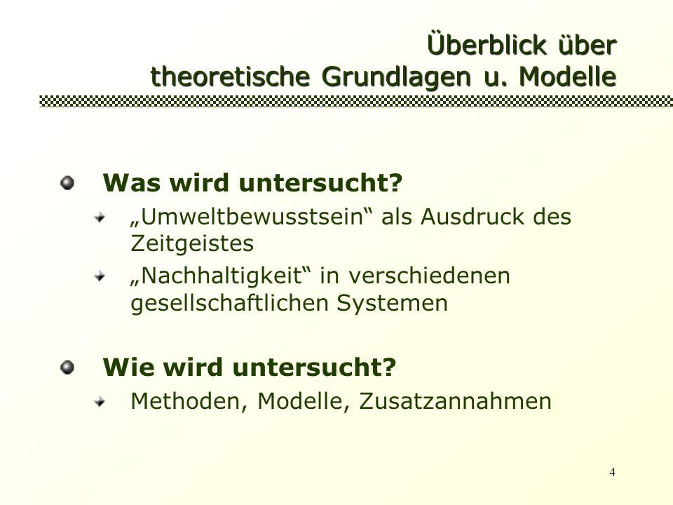 Überblick über theoretische Grundlagen u. Modelle