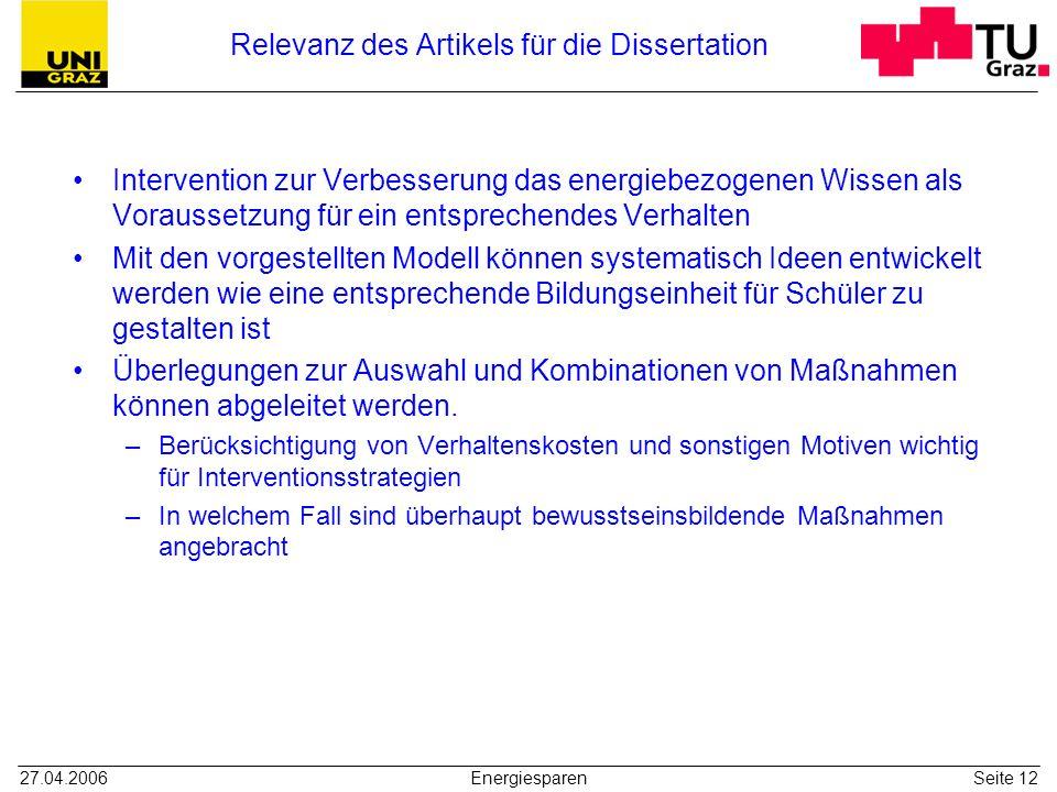 Relevanz des Artikels für die Dissertation