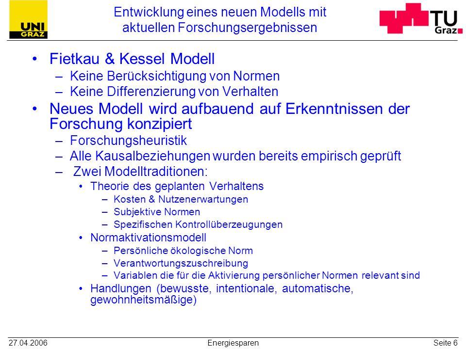 Entwicklung eines neuen Modells mit aktuellen Forschungsergebnissen