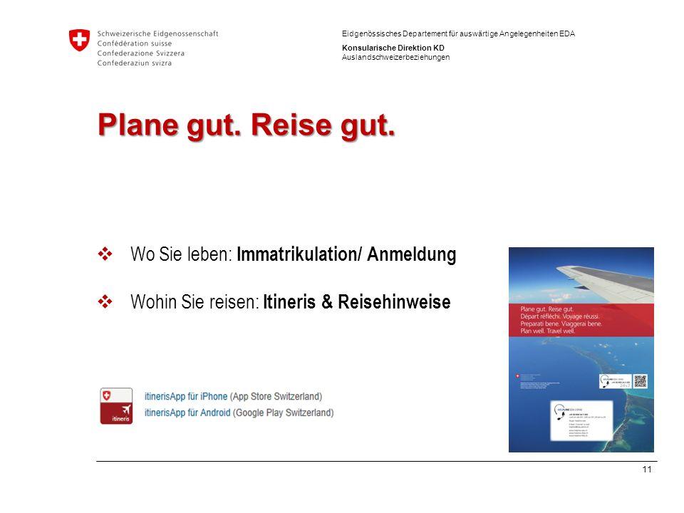 Plane gut. Reise gut. Wo Sie leben: Immatrikulation/ Anmeldung