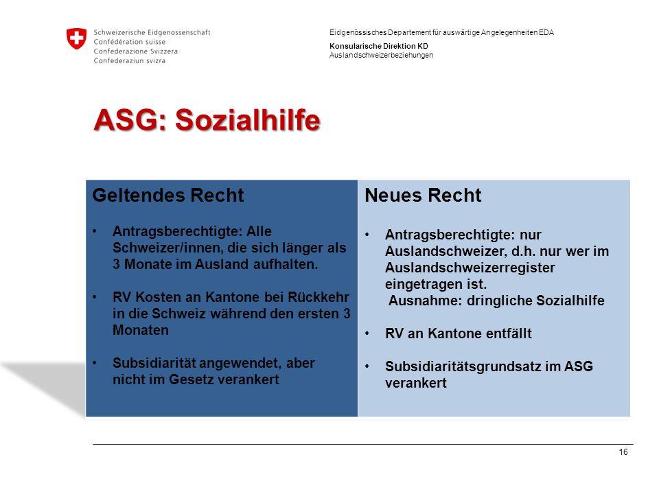 ASG: Sozialhilfe Geltendes Recht Neues Recht