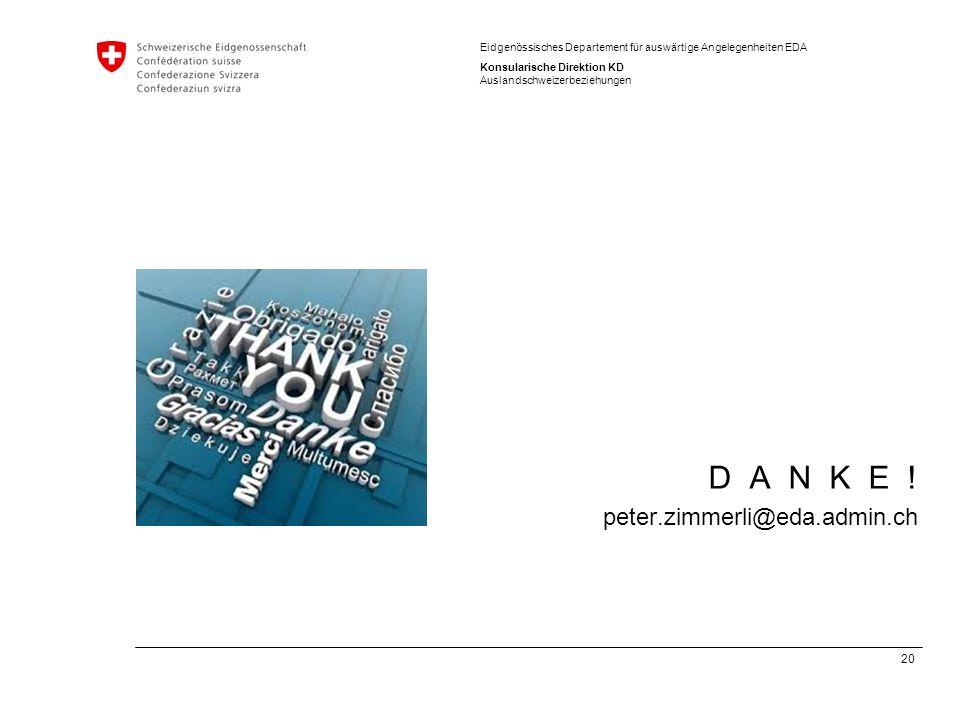 D A N K E ! peter.zimmerli@eda.admin.ch
