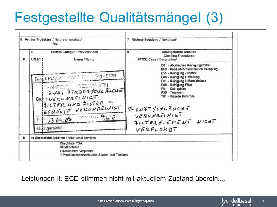 Festgestellte Qualitätsmängel (3)