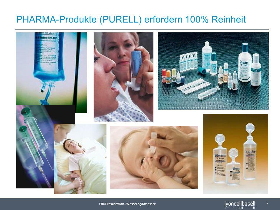 PHARMA-Produkte (PURELL) erfordern 100% Reinheit