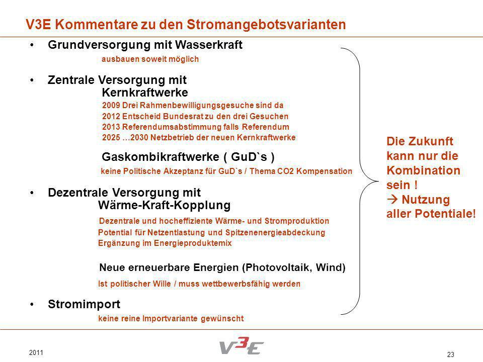 V3E Kommentare zu den Stromangebotsvarianten