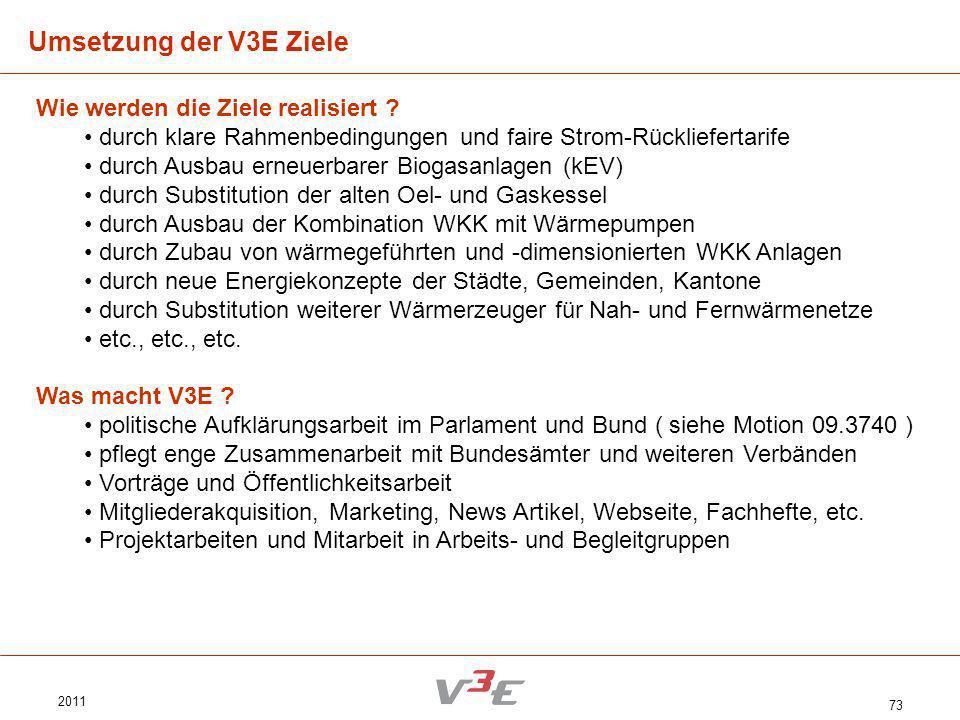 Umsetzung der V3E Ziele Wie werden die Ziele realisiert