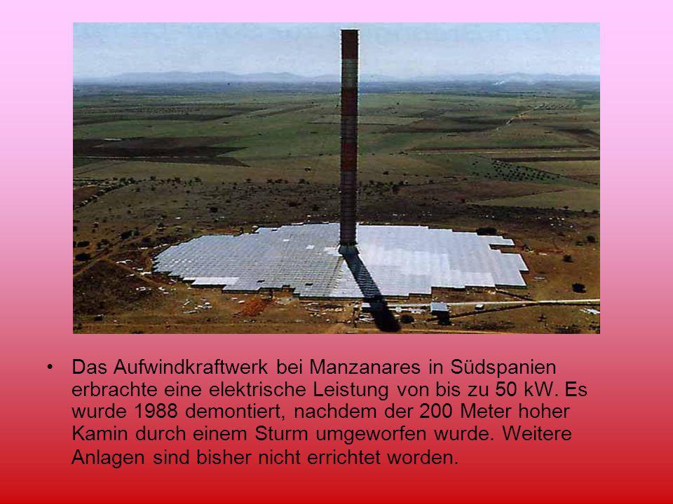 Das Aufwindkraftwerk bei Manzanares in Südspanien erbrachte eine elektrische Leistung von bis zu 50 kW.