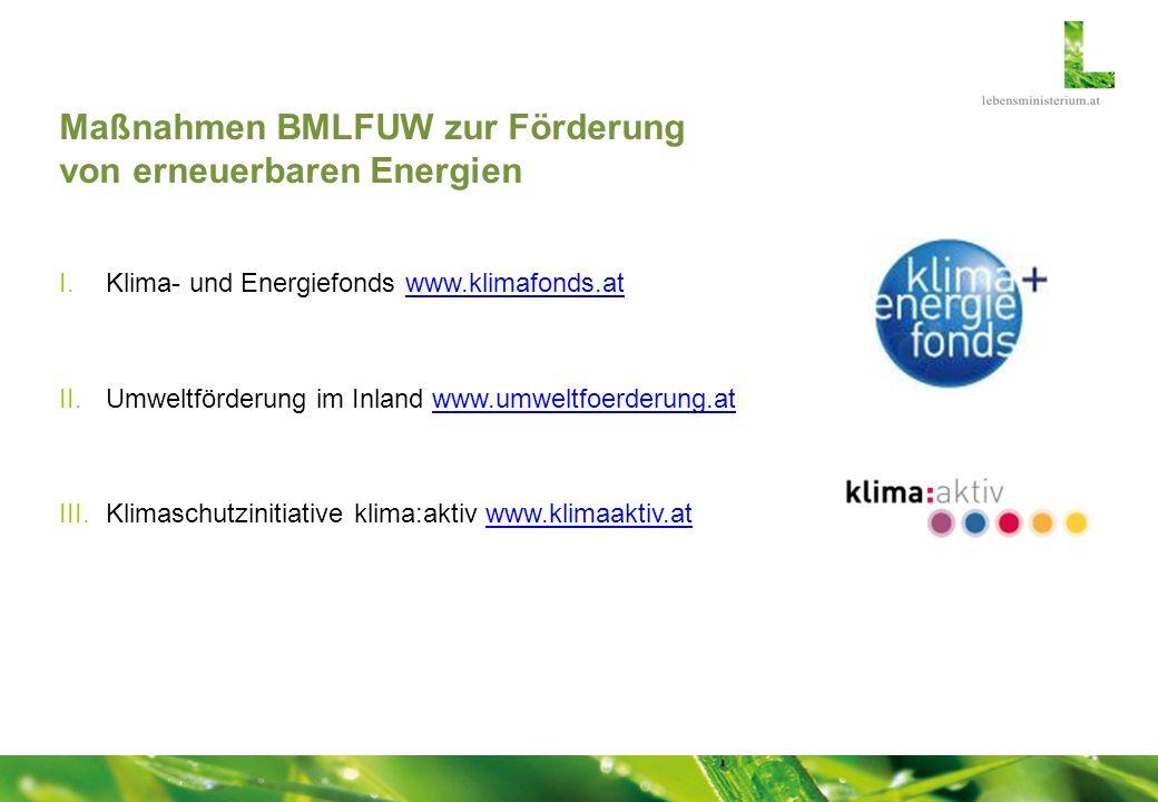 Maßnahmen BMLFUW zur Förderung von erneuerbaren Energien