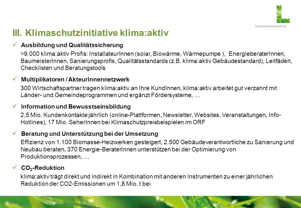 III. Klimaschutzinitiative klima:aktiv