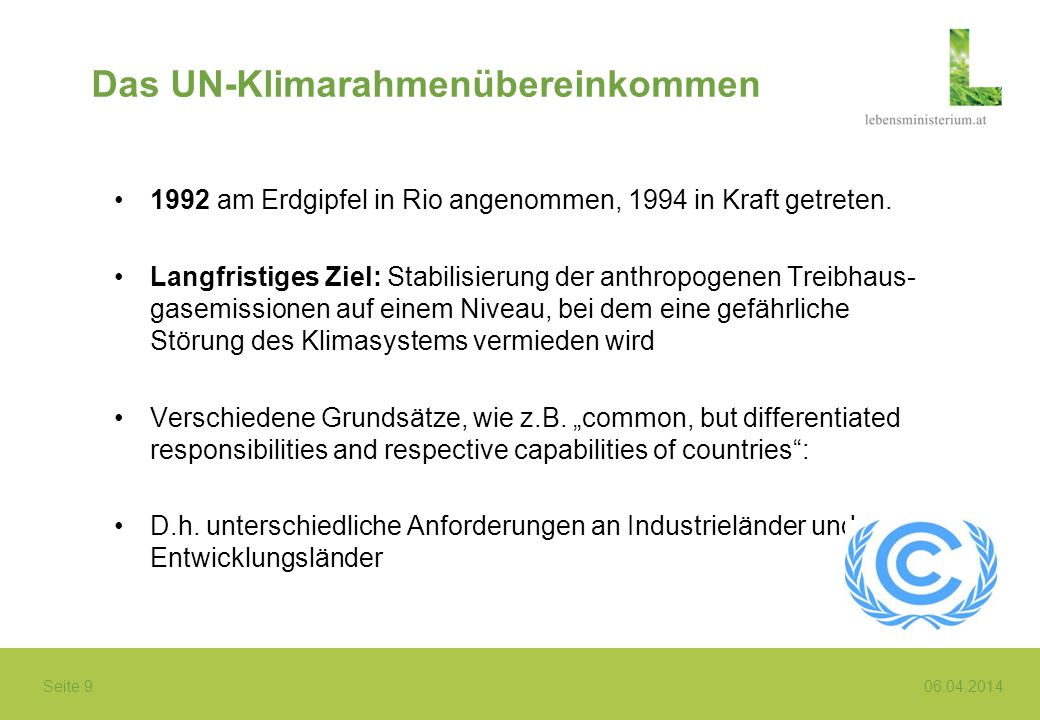Das UN-Klimarahmenübereinkommen