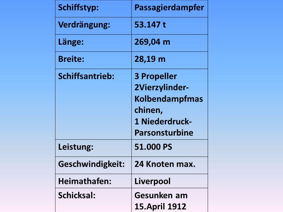 Schiffstyp: Passagierdampfer. Verdrängung: 53.147 t. Länge: 269,04 m. Breite: 28,19 m. Schiffsantrieb: