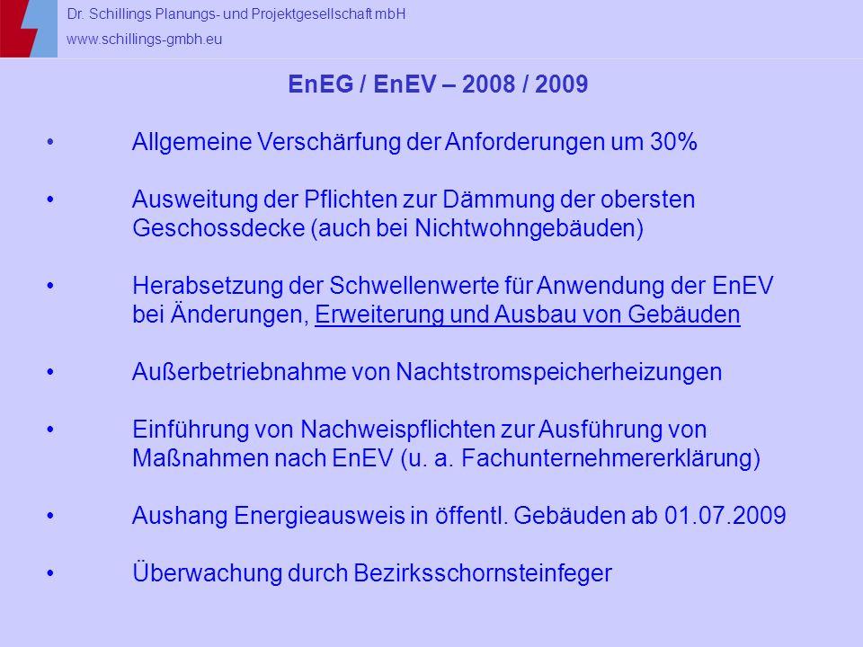 EnEG / EnEV – 2008 / 2009 Allgemeine Verschärfung der Anforderungen um 30%