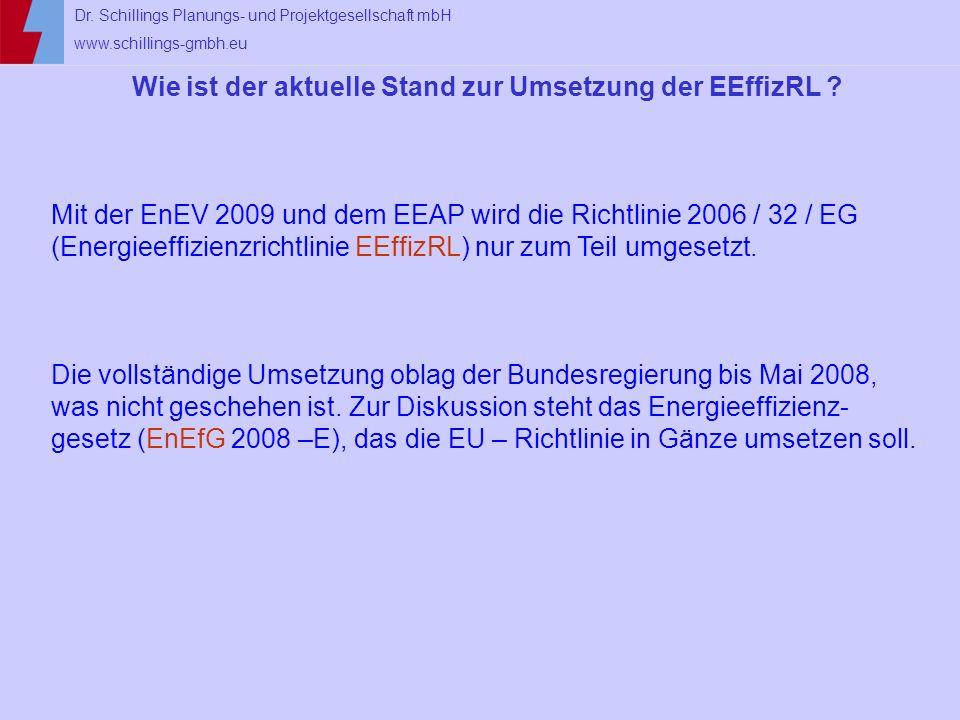 Wie ist der aktuelle Stand zur Umsetzung der EEffizRL