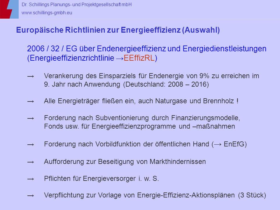 Europäische Richtlinien zur Energieeffizienz (Auswahl)