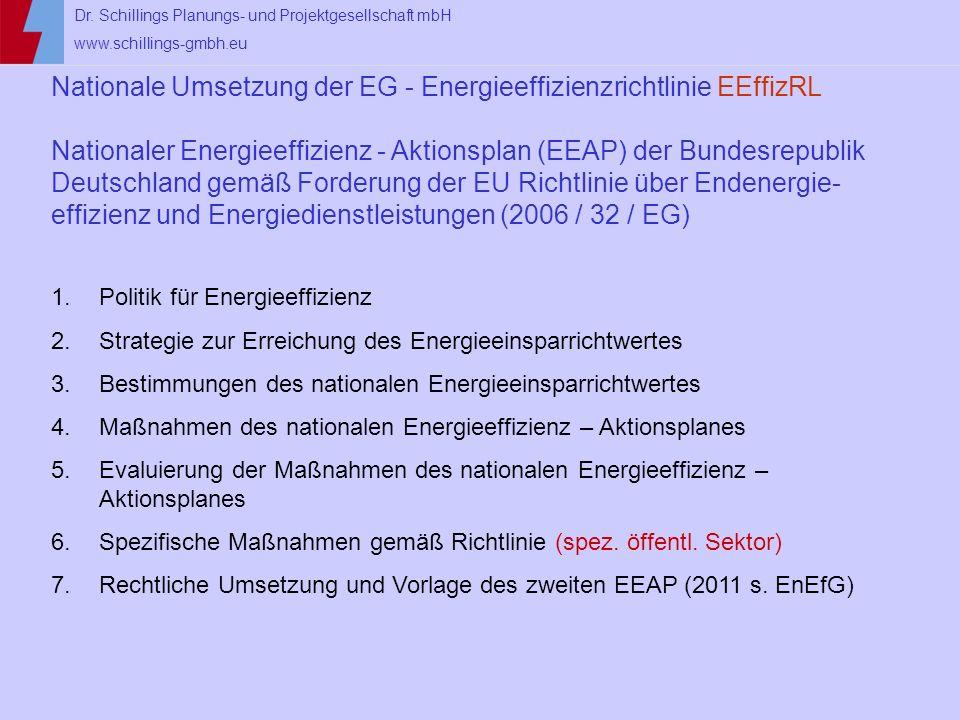 Nationale Umsetzung der EG - Energieeffizienzrichtlinie EEffizRL