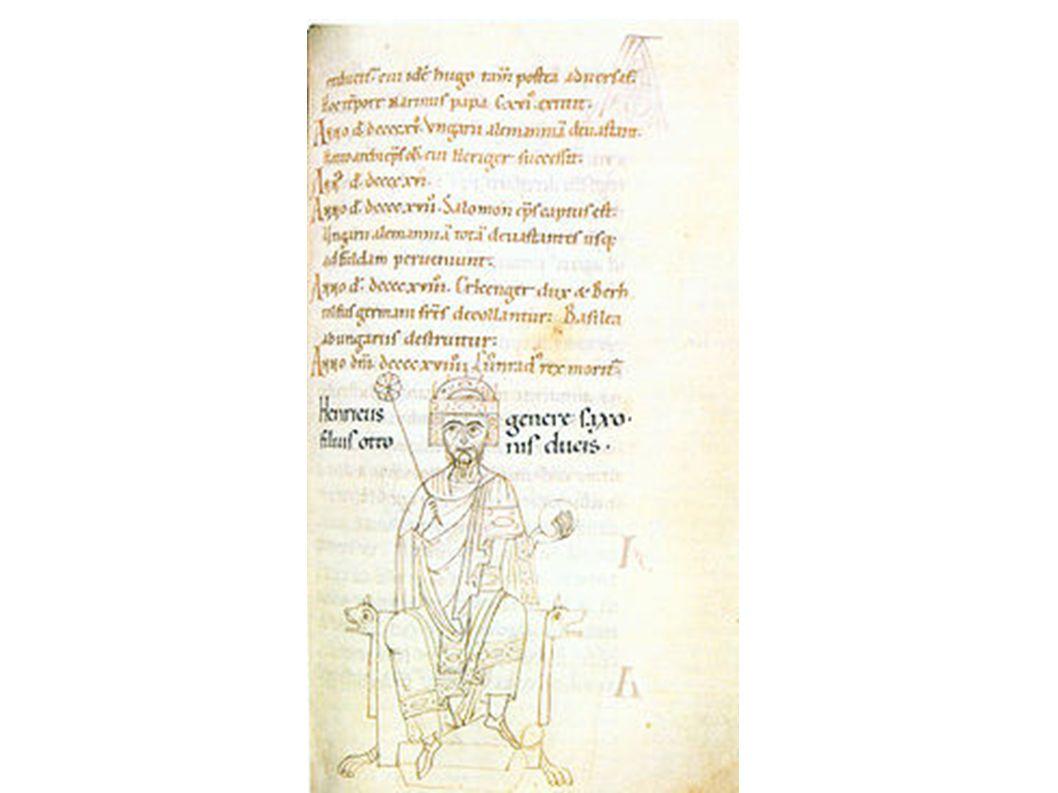 Bild Heinrichs I. aus der anonymen Kaiserchronik für Heinrich V.