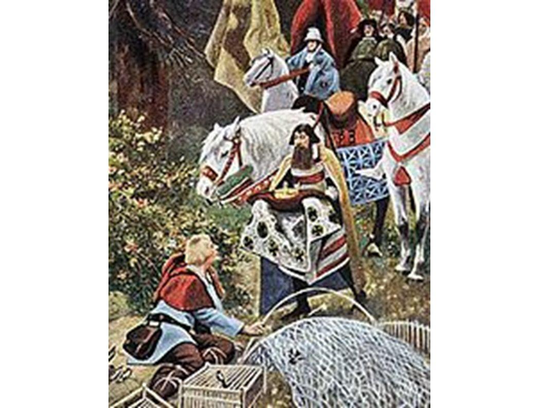 Heinrich wird beim Vogelstellen im Wald die Königskrone angetragen (Historiengemälde von Hermann Vogel, um 1900)