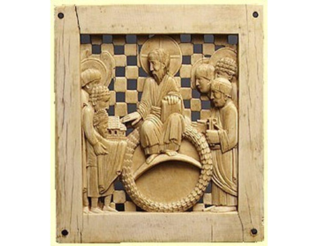 Die Elfenbeinplatte zeigt die Stiftung wohl des Magdeburger Domes durch den Kaiser, dem thronenden Christus im Beisein von Petrus und anderen Heilgen übergeben.