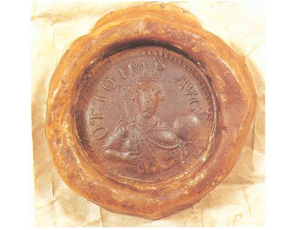 Kaisersiegel Ottos II. Kleiner als das seines Vaters – zeigt Herrscher mit zepter und Globus.