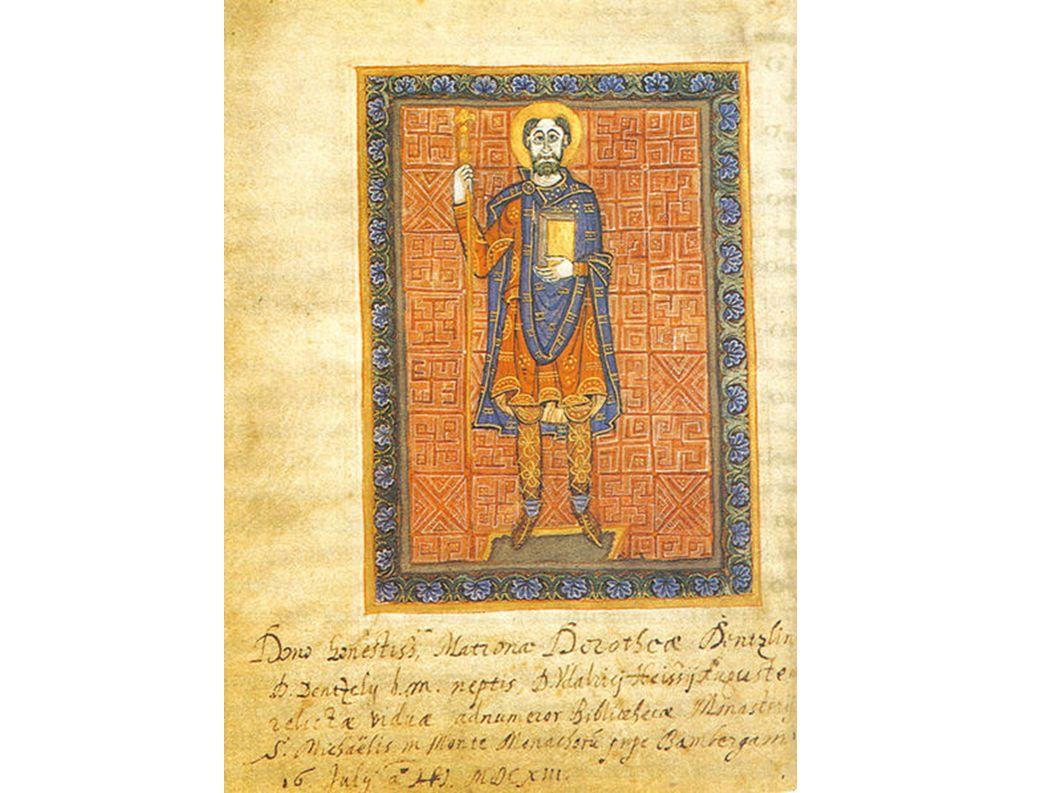 Heinrich der Zänker im fränkischen Gewand (Miniatur aus dem Regelbuch von Niedermünster, um 985).