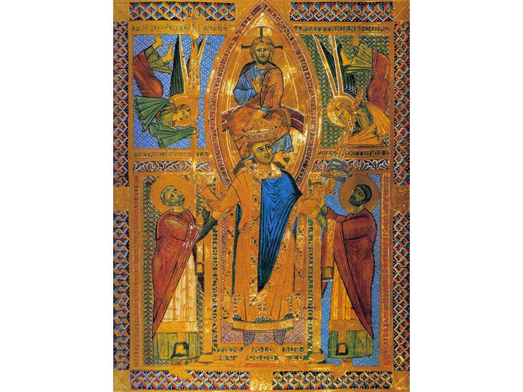 Das Krönungsbild aus dem Regensburger Sakramentar: Die heiliggesprochenen Bischöfe Ulrich von Augsburg und Emmeram von Regensburg haben Heinrich vor den Thron des Höchsten geleitet.