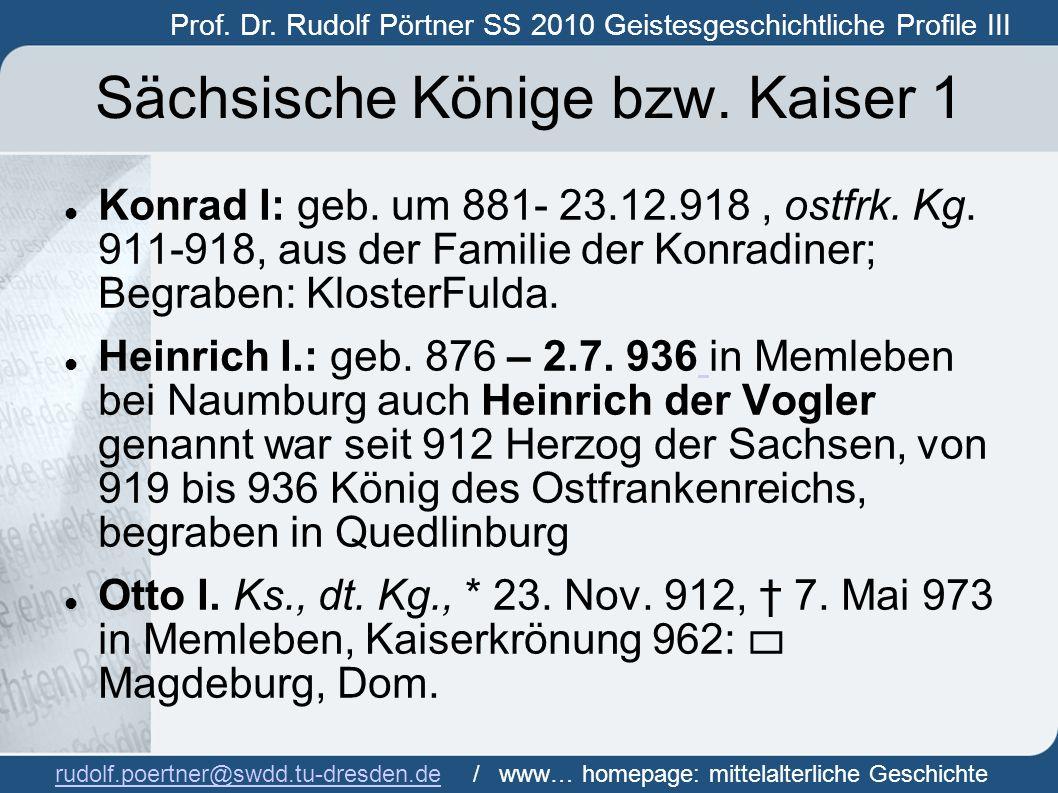 Sächsische Könige bzw. Kaiser 1