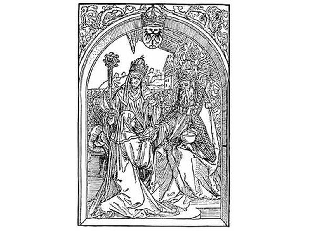 """Hrotsvit von Gandersheim überreicht Kaiser Otto dem Großen ihre """"Gesta Oddonis ; im Hintergrund Gerberga, Äbtissin des Stiftes Gandersheim."""
