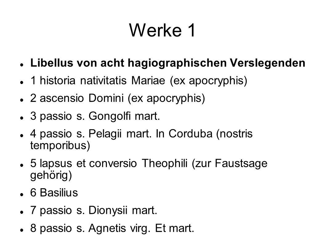 Werke 1 Libellus von acht hagiographischen Verslegenden