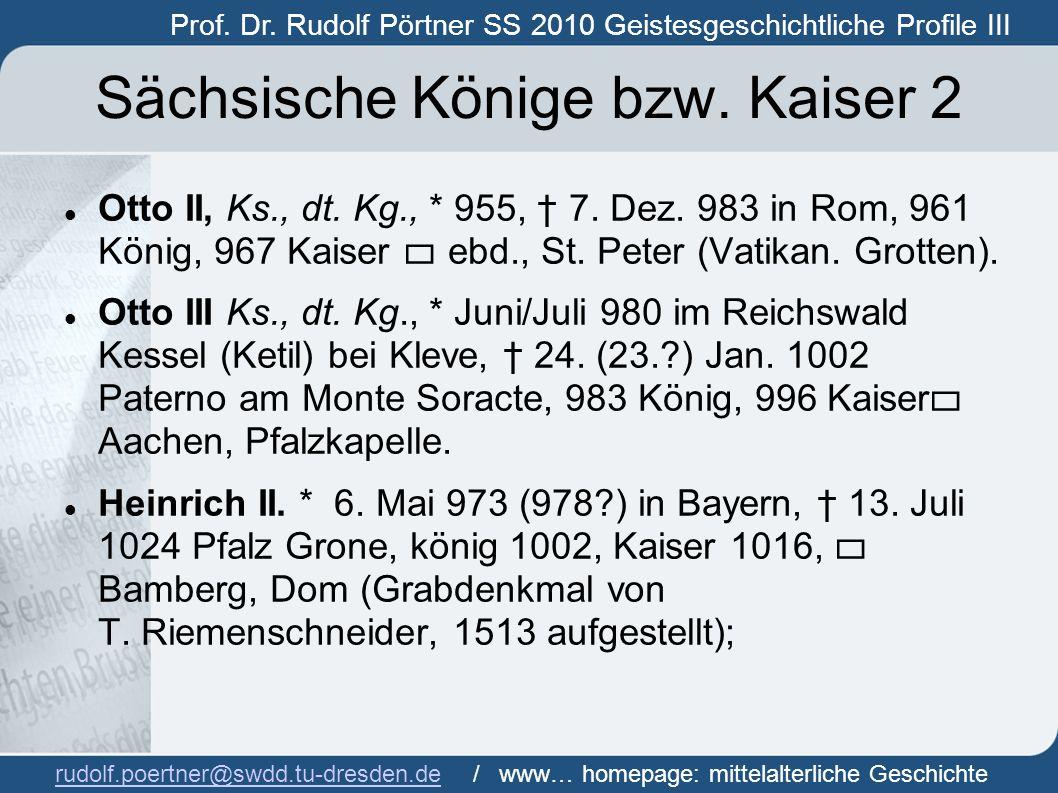 Sächsische Könige bzw. Kaiser 2