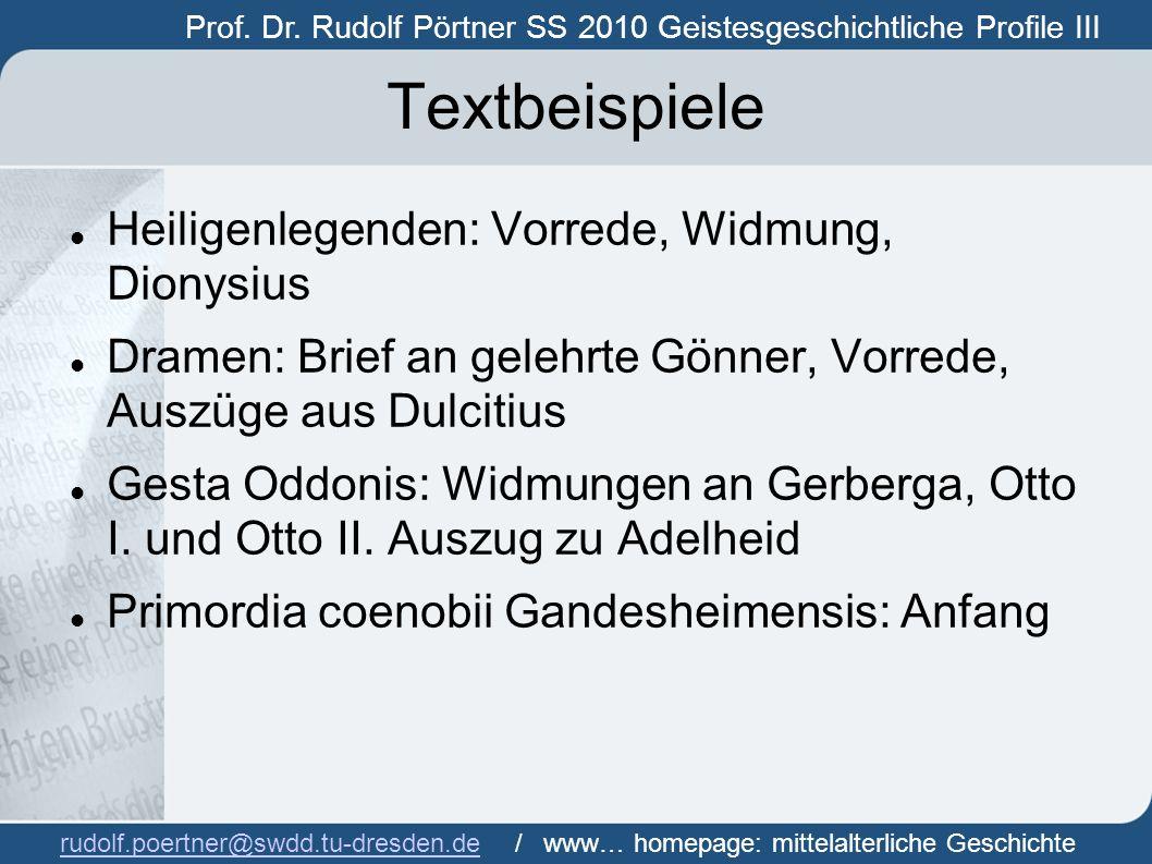 Textbeispiele Heiligenlegenden: Vorrede, Widmung, Dionysius
