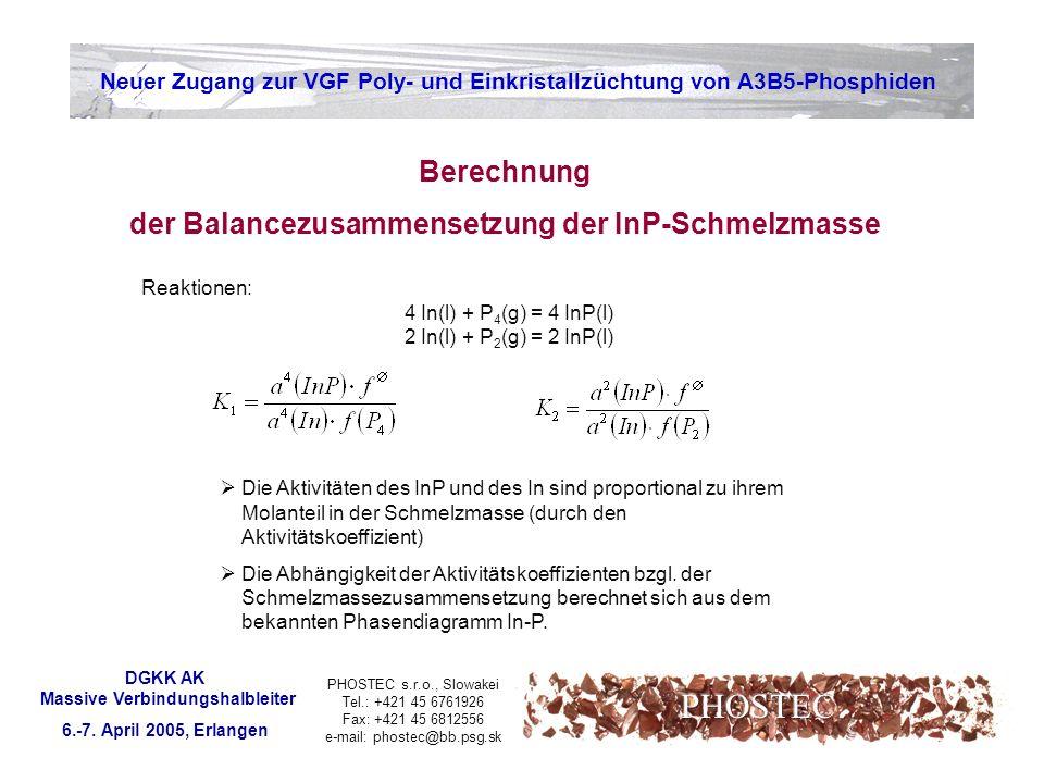PHOSTEC Berechnung der Balancezusammensetzung der InP-Schmelzmasse