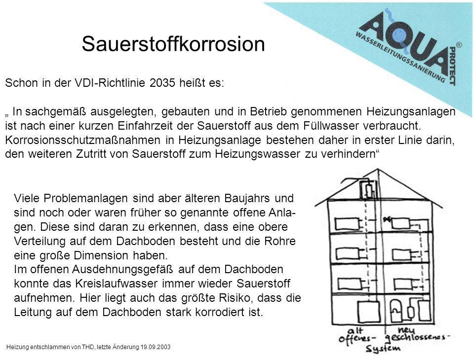 Sauerstoffkorrosion Schon in der VDI-Richtlinie 2035 heißt es: