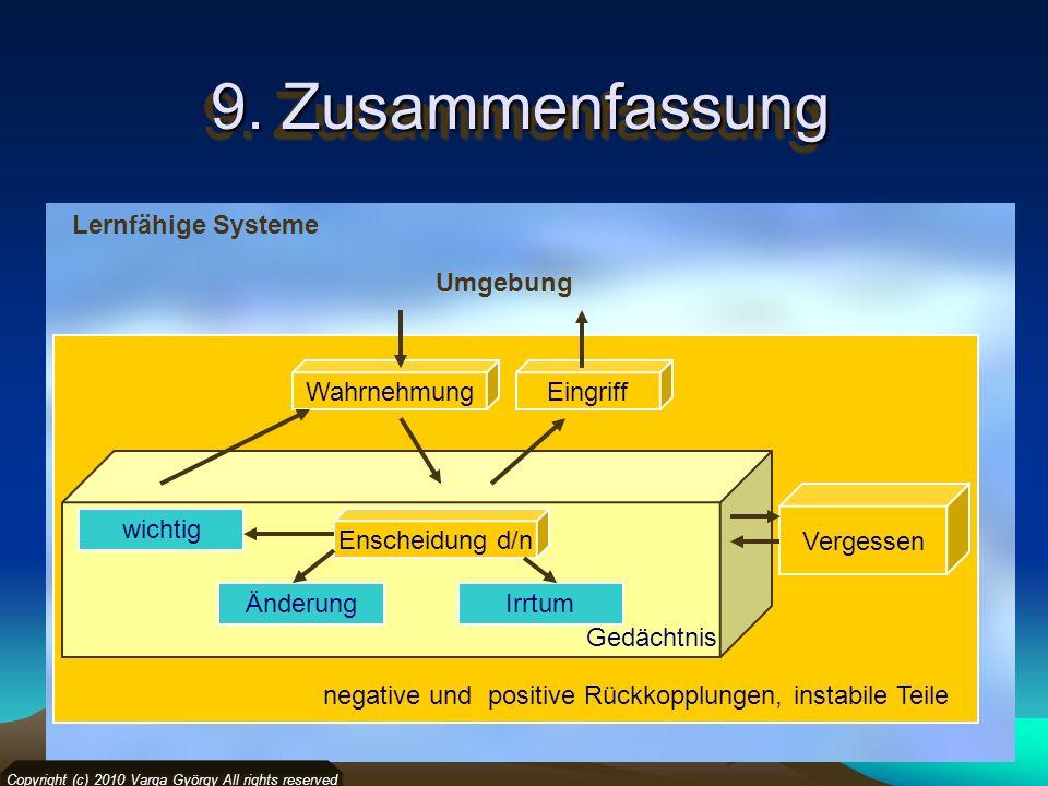 9. Zusammenfassung Lernfähige Systeme Umgebung Wahrnehmung Eingriff