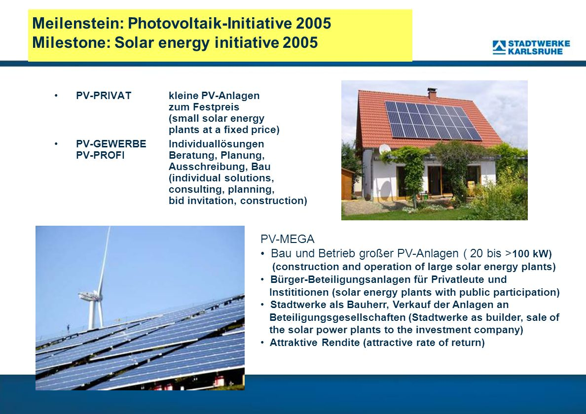 Meilenstein: Photovoltaik-Initiative 2005 Milestone: Solar energy initiative 2005