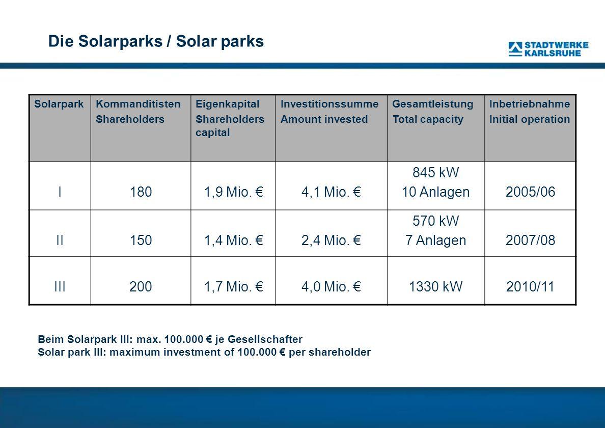 Die Solarparks / Solar parks
