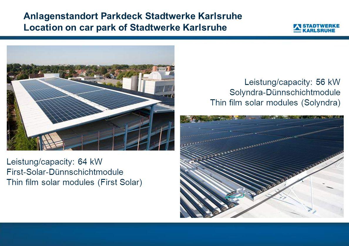 Anlagenstandort Parkdeck Stadtwerke Karlsruhe Location on car park of Stadtwerke Karlsruhe