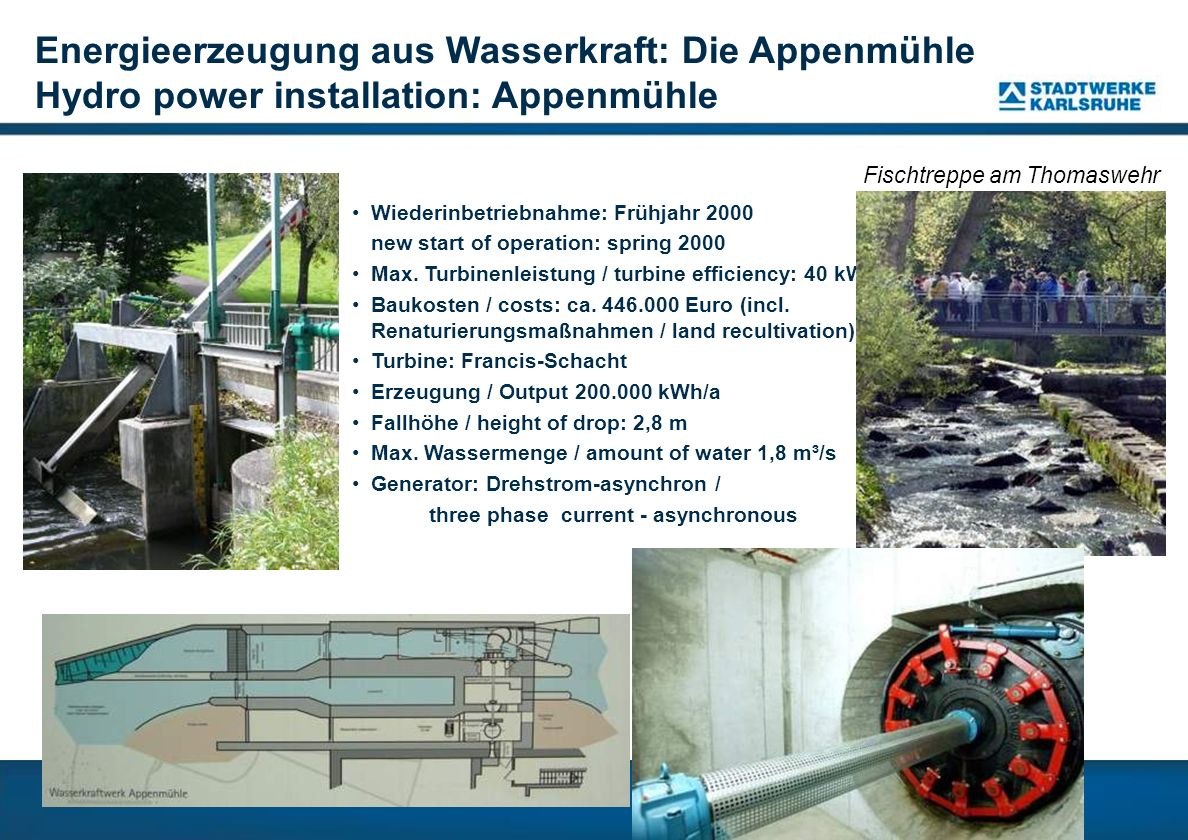 Energieerzeugung aus Wasserkraft: Die Appenmühle Hydro power installation: Appenmühle