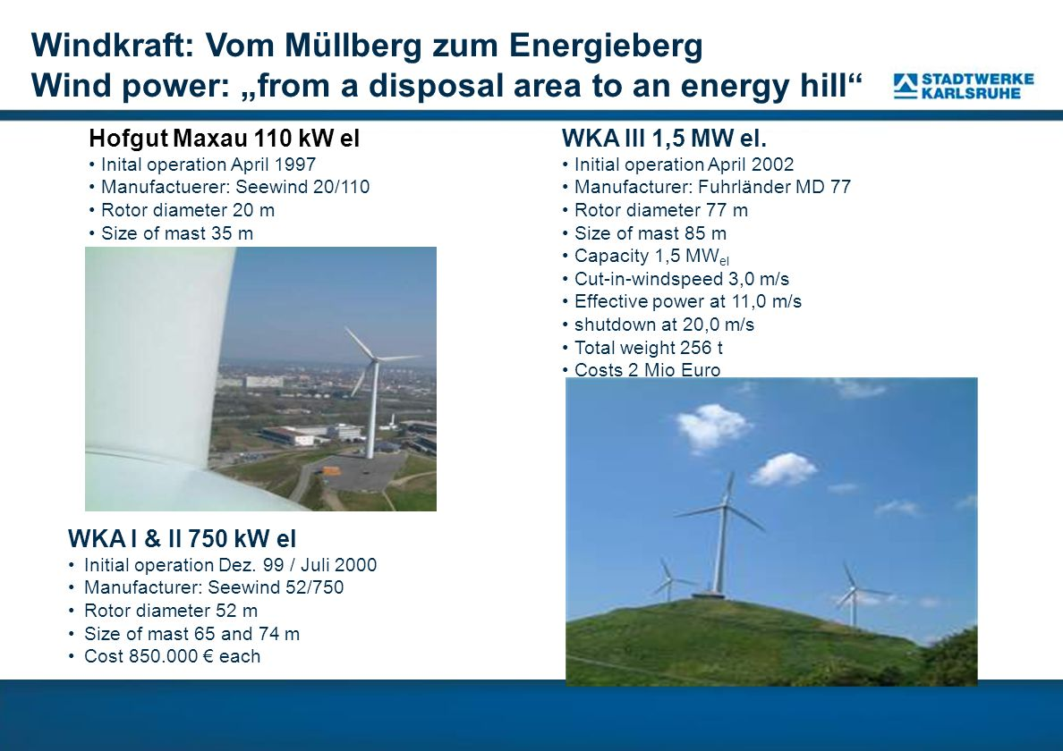 "Windkraft: Vom Müllberg zum Energieberg Wind power: ""from a disposal area to an energy hill"