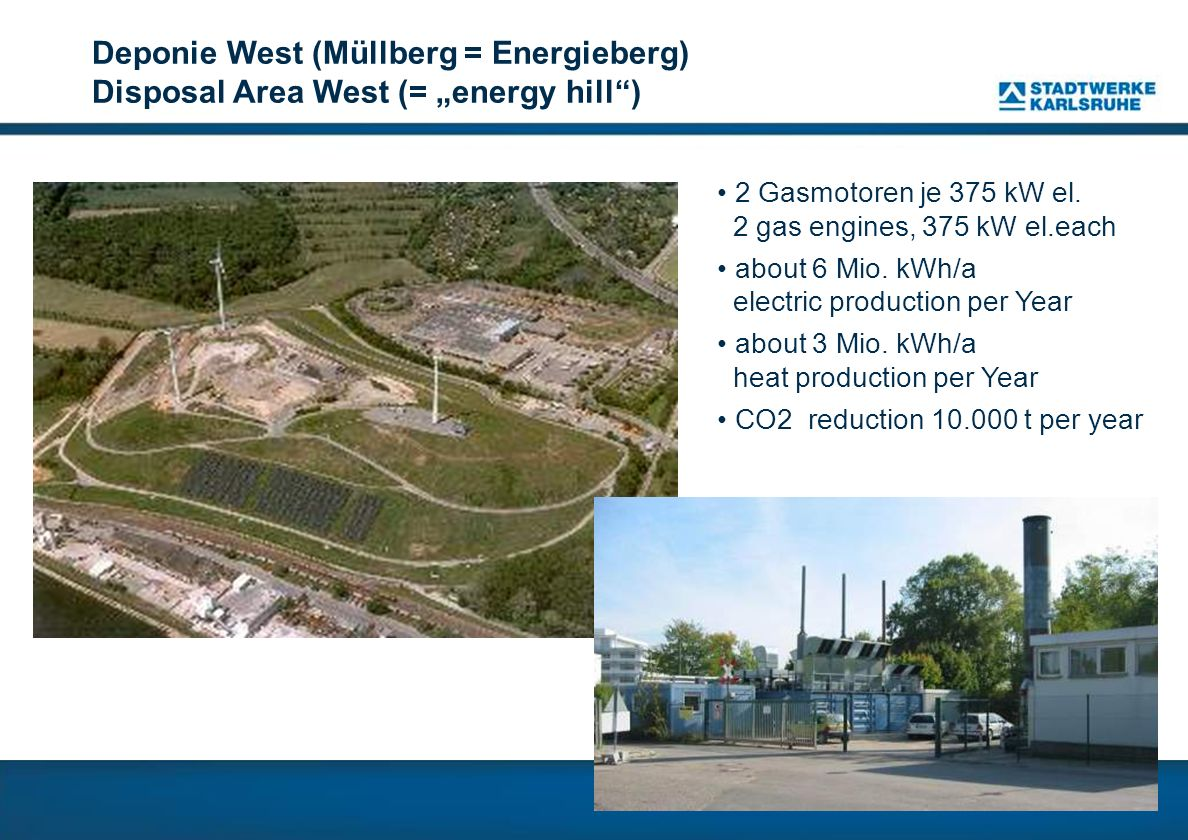 "Deponie West (Müllberg = Energieberg) Disposal Area West (= ""energy hill )"