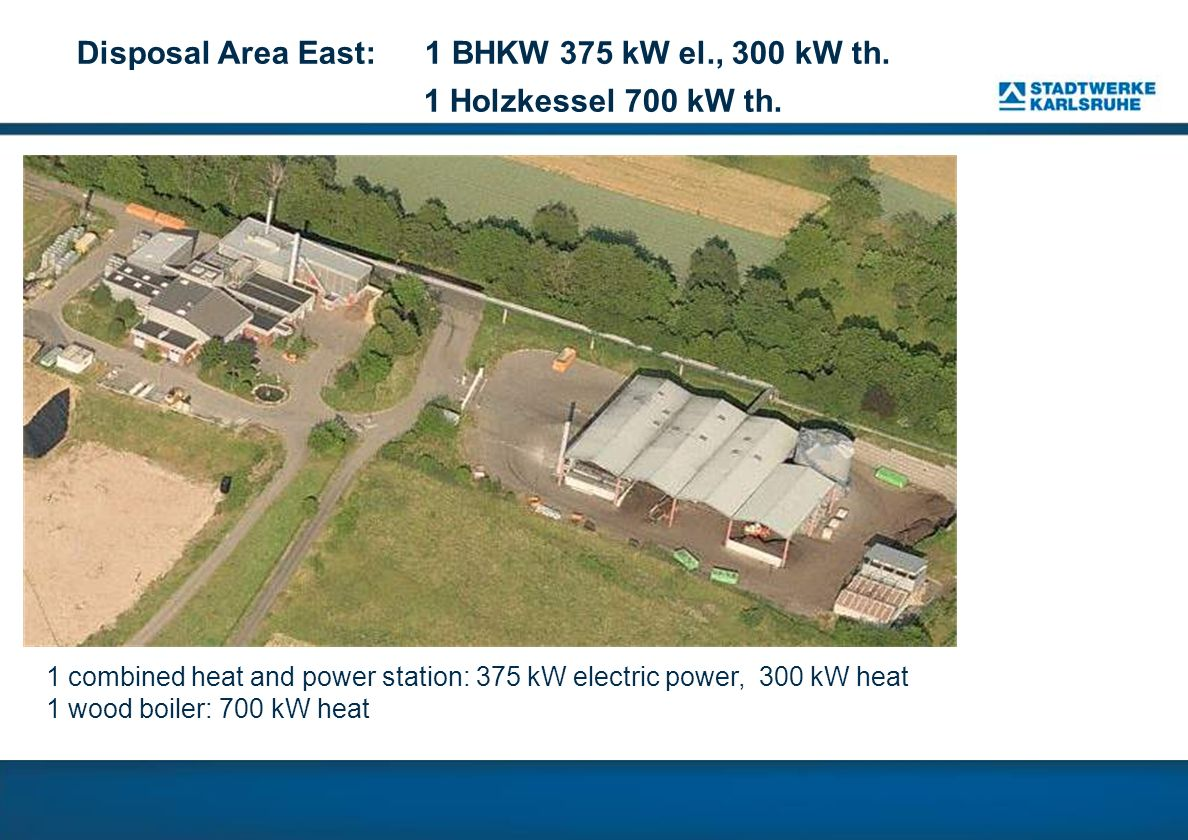 Disposal Area East: 1 BHKW 375 kW el., 300 kW th.