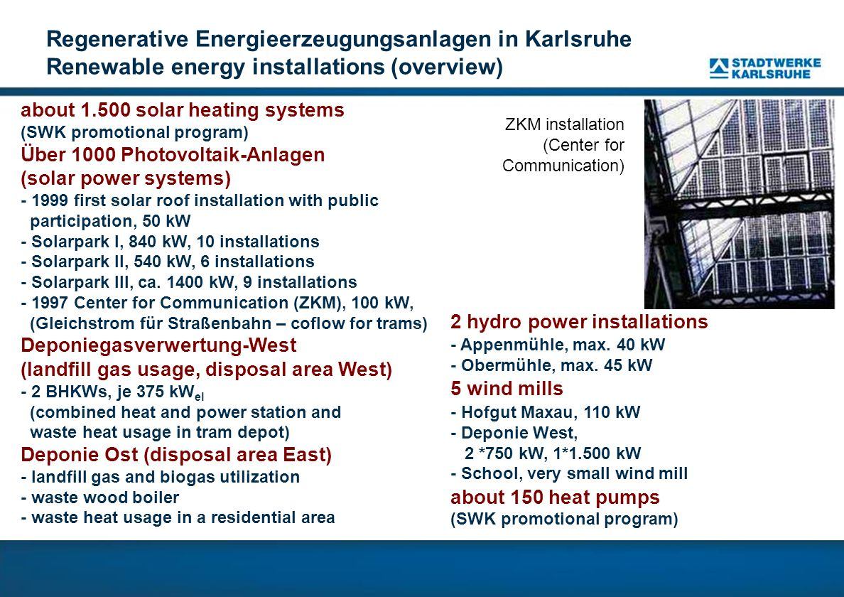 Regenerative Energieerzeugungsanlagen in Karlsruhe Renewable energy installations (overview)