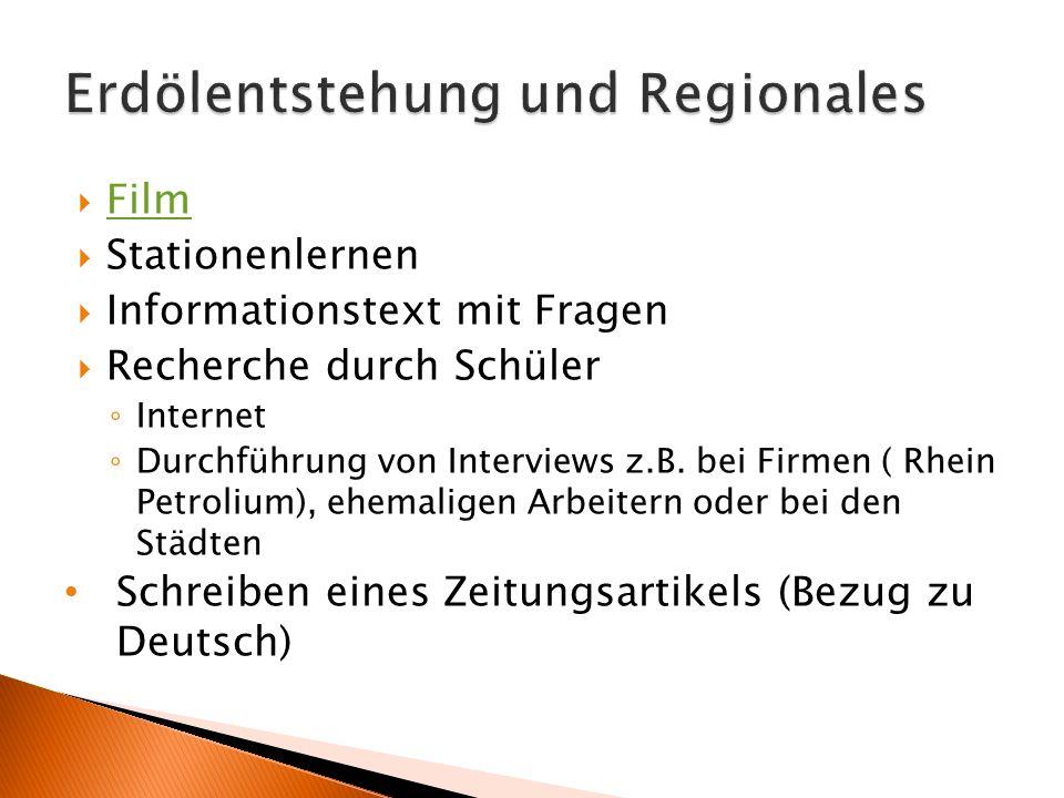 Erdölentstehung und Regionales